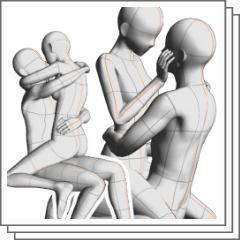 何かに座って抱っこ Clip Studio Assets
