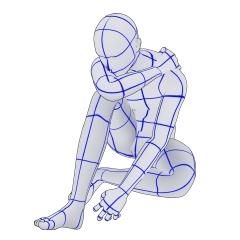膝を抱える男性 Clip Studio Assets