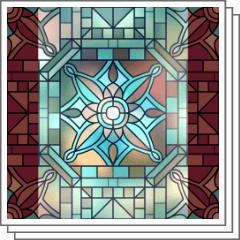 レトロタイルステンドグラス素材 Clip Studio Assets